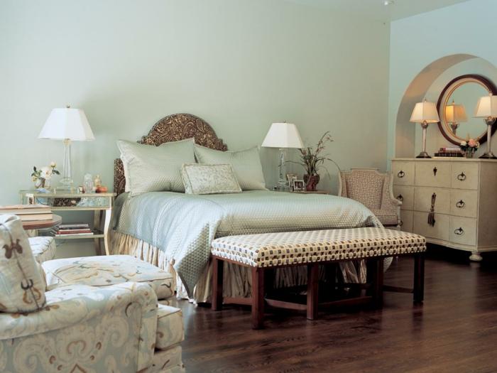schlafzimmereinrichtung verschiedene muster schlafzimmermöbel bank