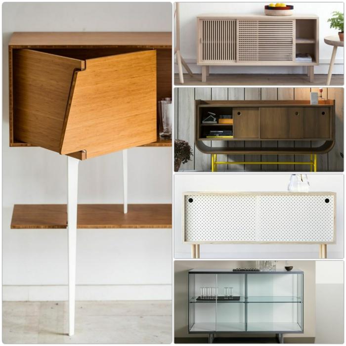 Sideboard Mit Schiebetüren Wohnzimmer Möbel Echtholz Und Glas