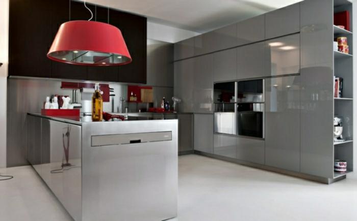 stilvolle modulküchen küchen italienisch rote pendelleuchte