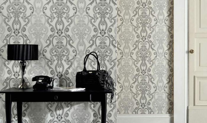 tapeten gemustert barockstil schwarz weiß retro