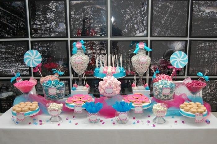 tischdeko süßigkeiten party büfett