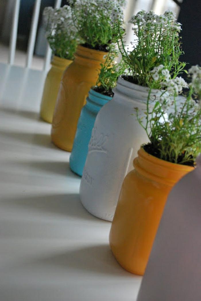 tischdeko selber machen bemalte einweckgläser vasen