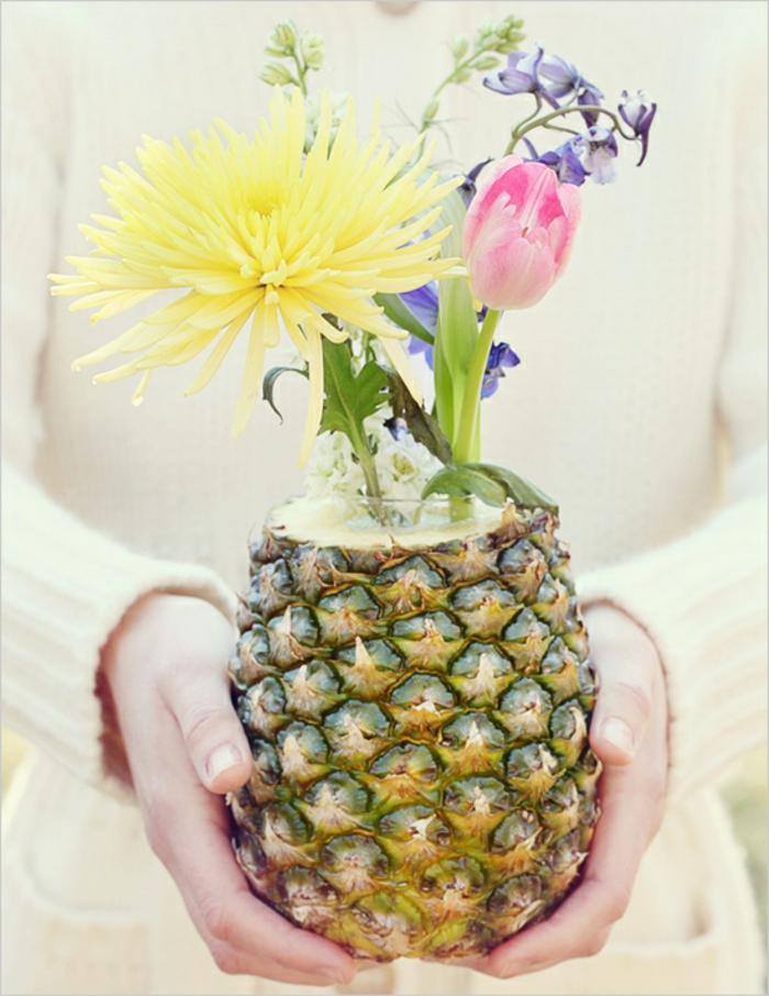 tischdeko selber machen diy vase ananas