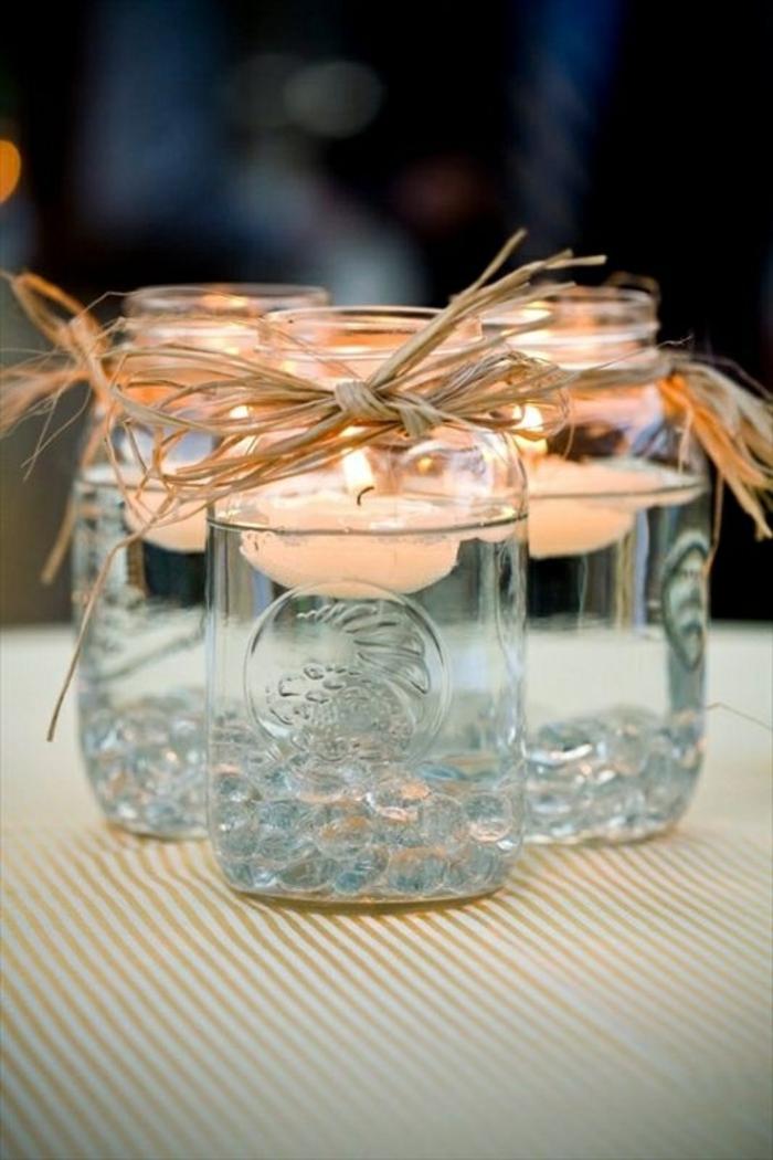 tischdeko selber machen windlichter einweckgläser schwimende kerzen sisal