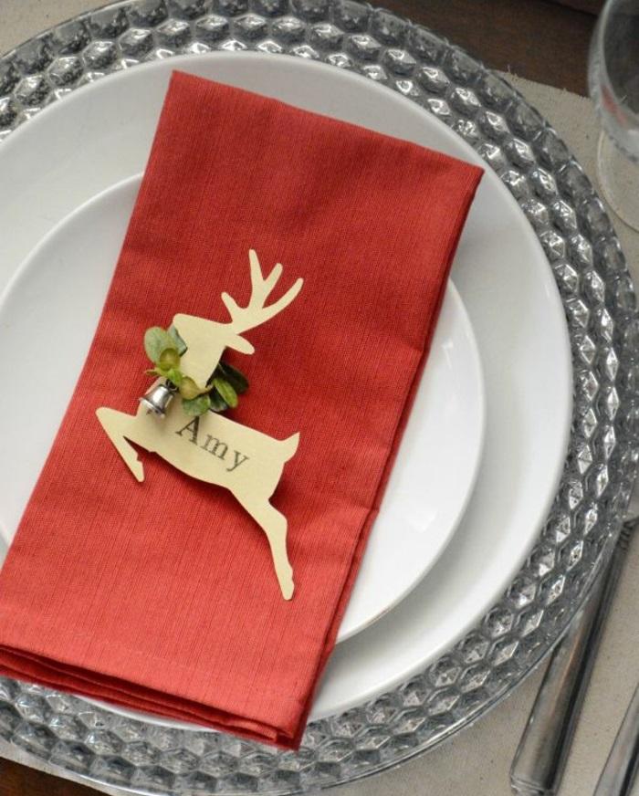 tischkarten basteln weihnachtliche tischdeko hirsch tischkärtchen