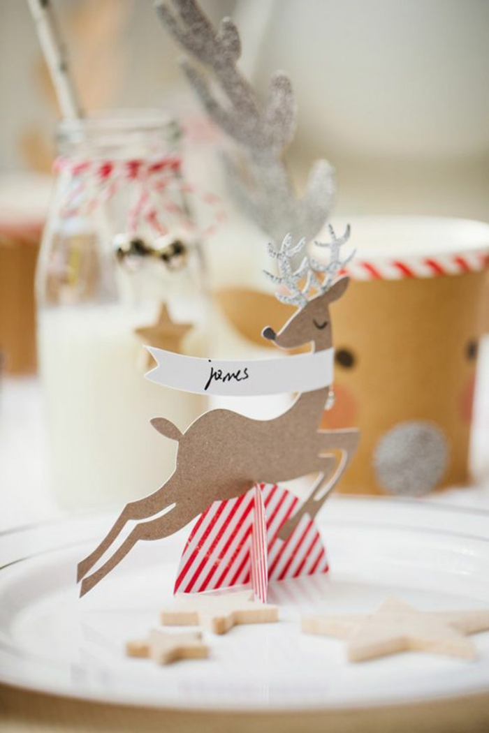 tischkarten basteln weihnachtliche tischdeko hirsch