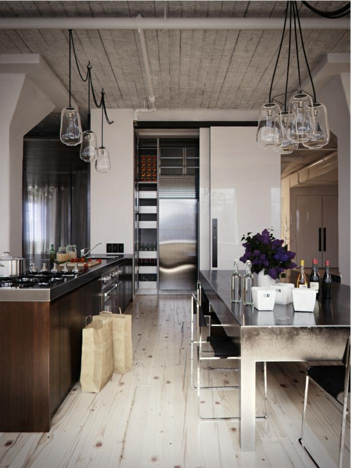 trends möbel küche einrichten cooler esstisch holzboden industriell