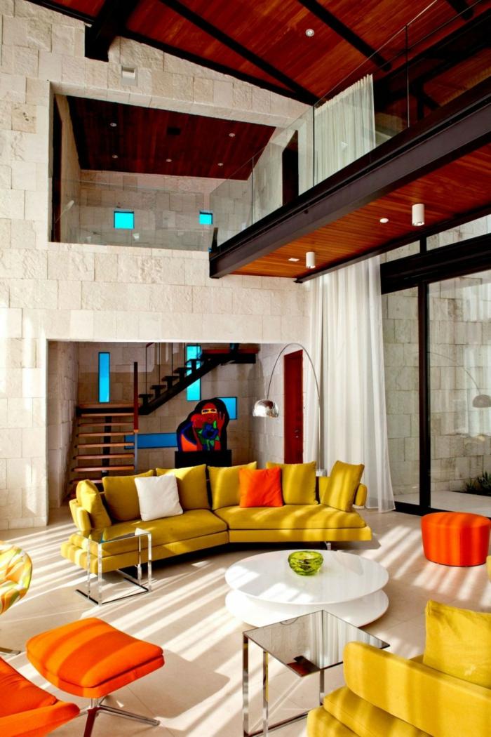 trends möbel wohnzimmer retro stil grelle möbel weißer couchtisch
