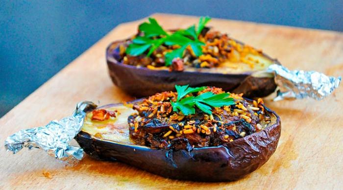 vegane rezepte gefüllte auberginen reis knoblauchsoße
