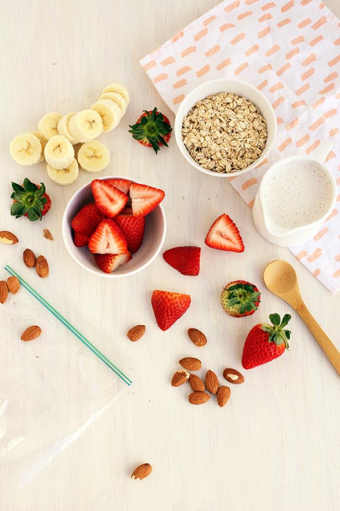 vegane rezepte haferflocken erdbeeren bananen nüsse