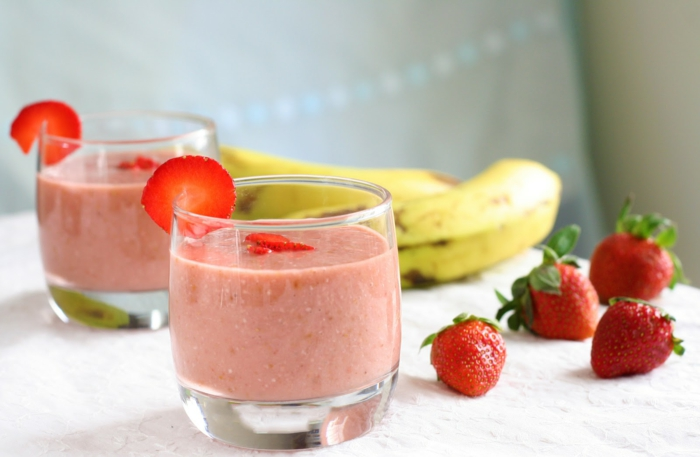 vegane rezepte haferflocken smoothie erdbeeren bananen