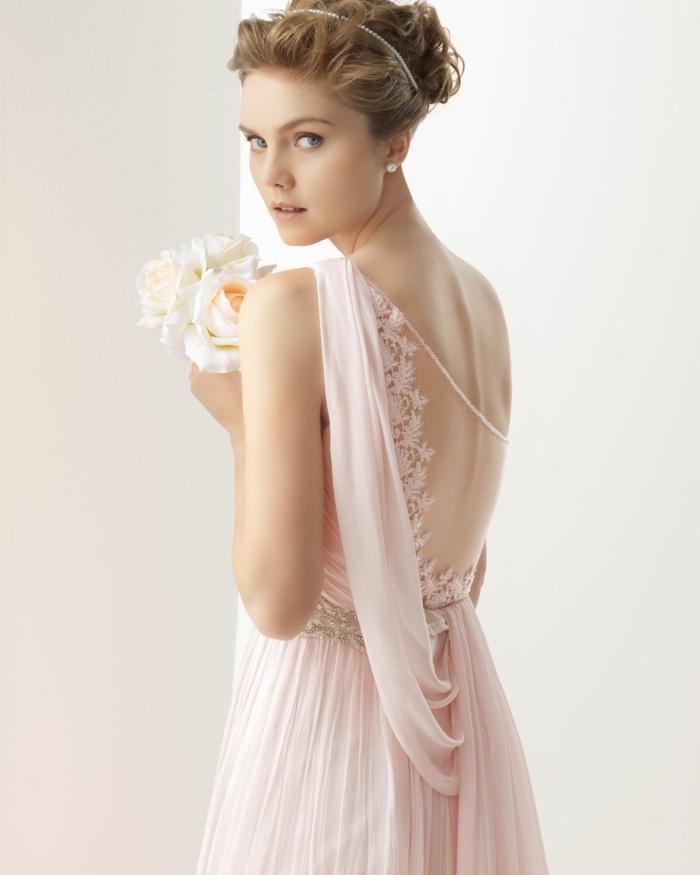 vintage brautkleider 70 jahre design rosa