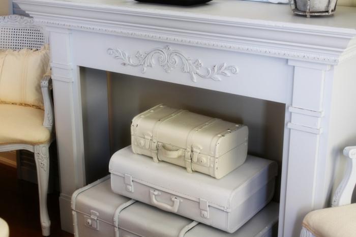retro koffer kamin dekoration