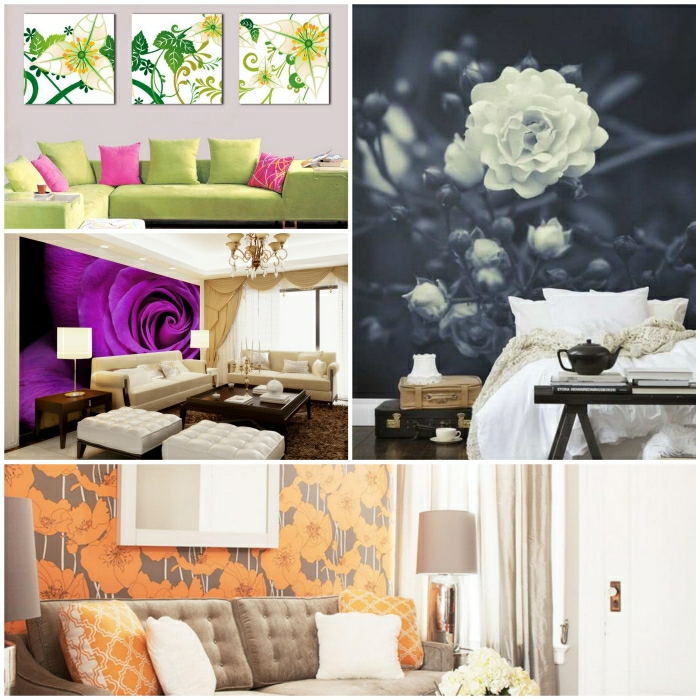 wanddeko ideen mit floralen motiven. Black Bedroom Furniture Sets. Home Design Ideas