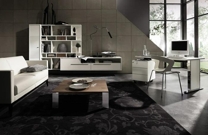 wandfliesen wohnzimmer wandgestaltung eleganter teppich weißes sofa