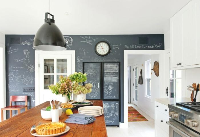 wandtafel küche rustikaler küchentisch pflanzen deko