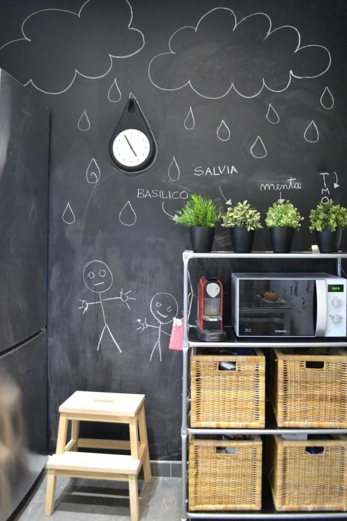 wandtafel küche sstauraum küche aufbewahrungskörbe