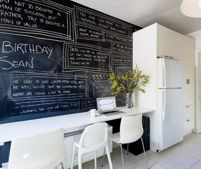 wandtafel küche weiße küchenmöbel pflanzen deko