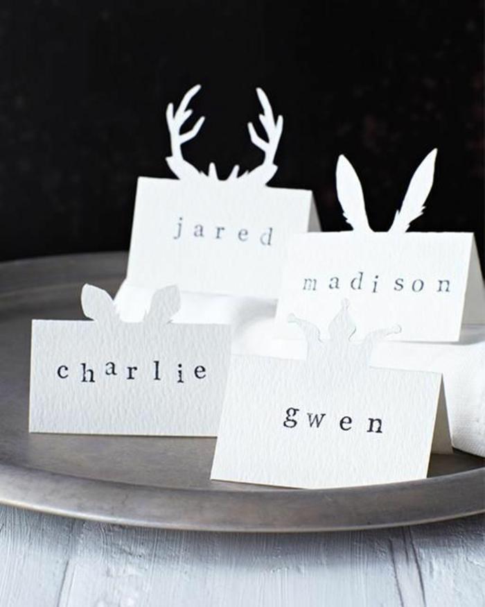 weihnachtliche tischdeko ideen tischkarten aus papier basteln