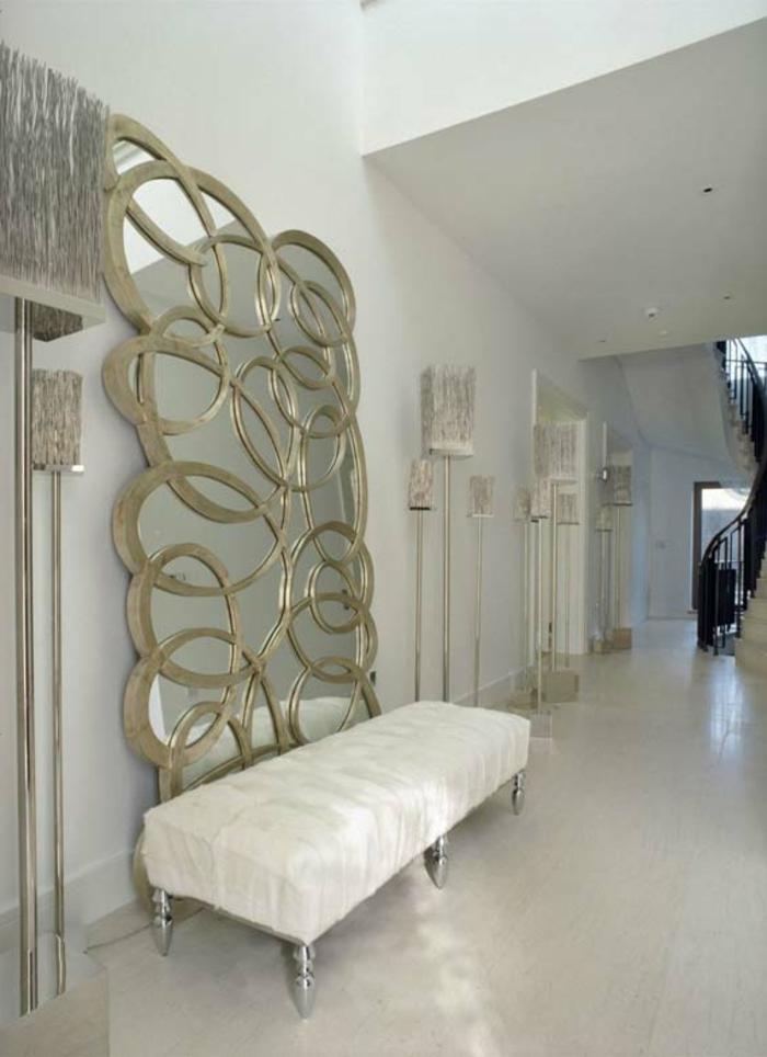 wohnideen flur elegante sitzbank weiß coole spiegel