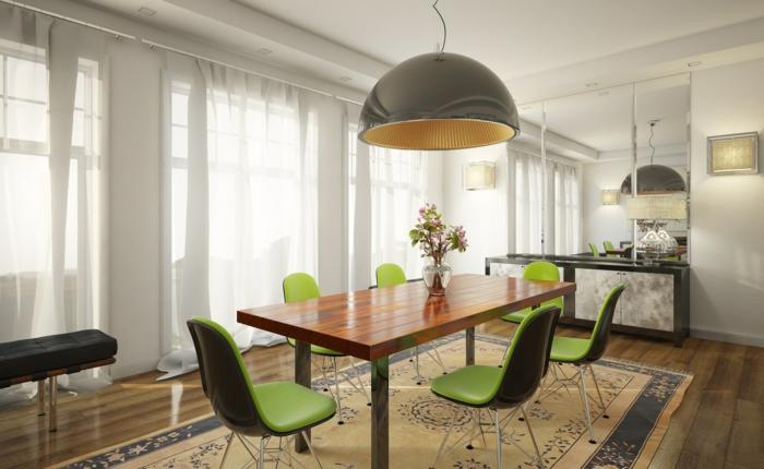 wohnideen küche coole grüne stühle teppich essbereich gestalten