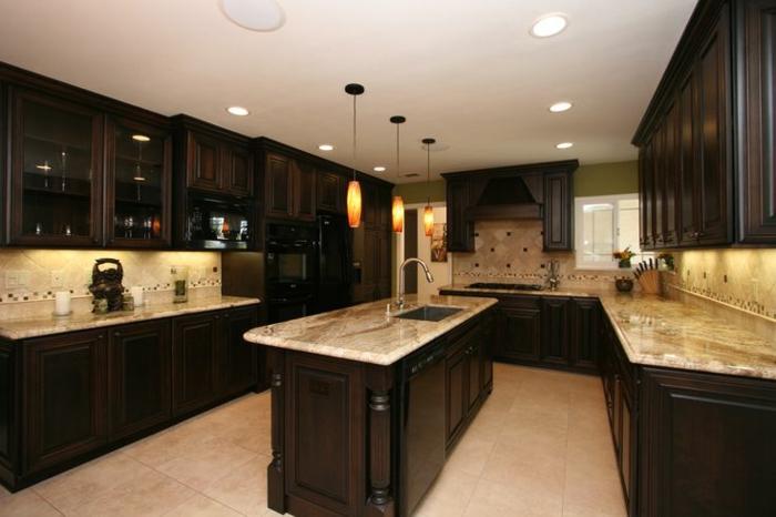 wohnideen küche eingebaute leuchten kücheninsel