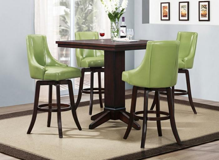 wohnideen küche grüne stühle esstisch teppich essbereich gestalten
