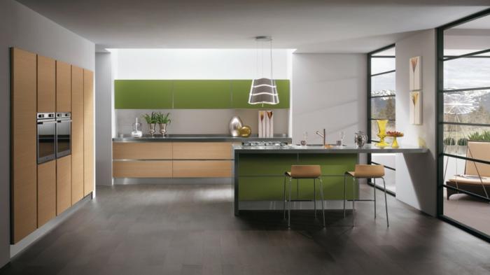 wohnideen küche kücheninsel grüne akzente