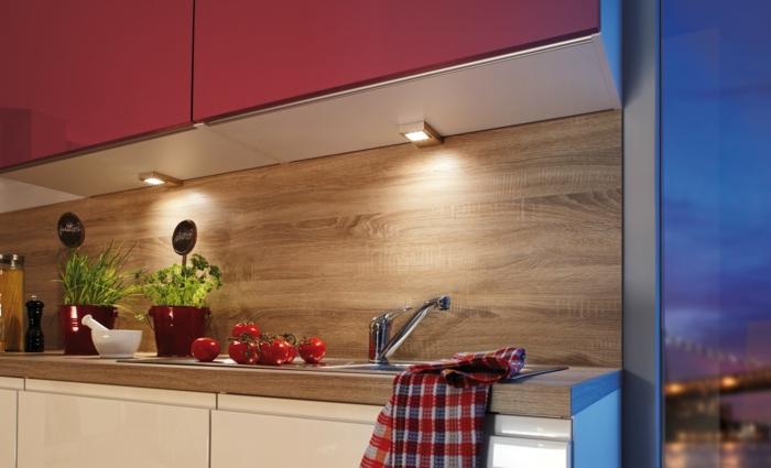 wohnideen küche leuchten pflanzen rote küchenschränke