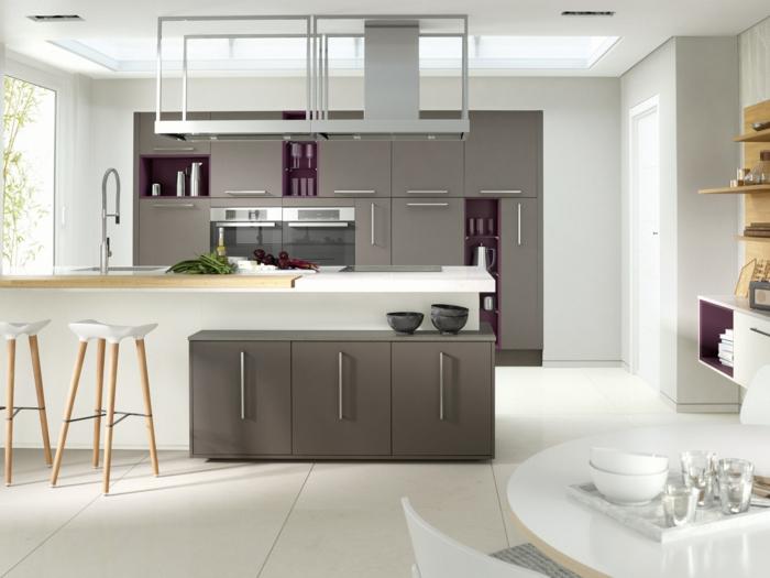wohnideen küche modernes interieur weiß grau barhocker