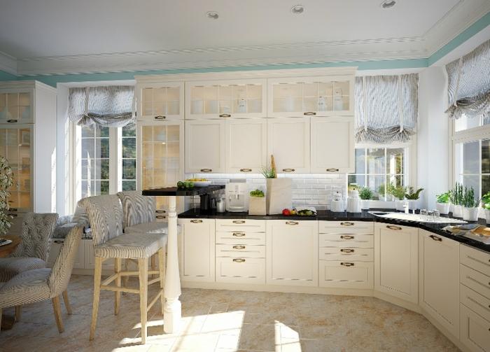 wohnideen küche traditionell barhocker essbereich