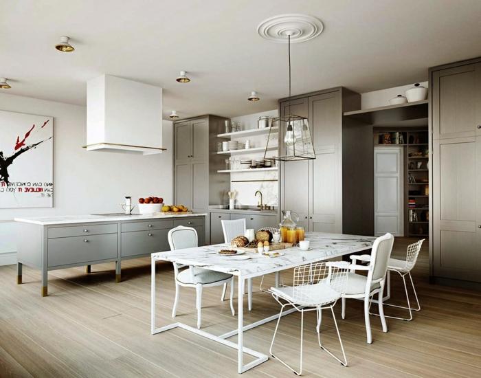 wohnideen küche weiße stühle hellgraue küchenschränke coole beleuchtung