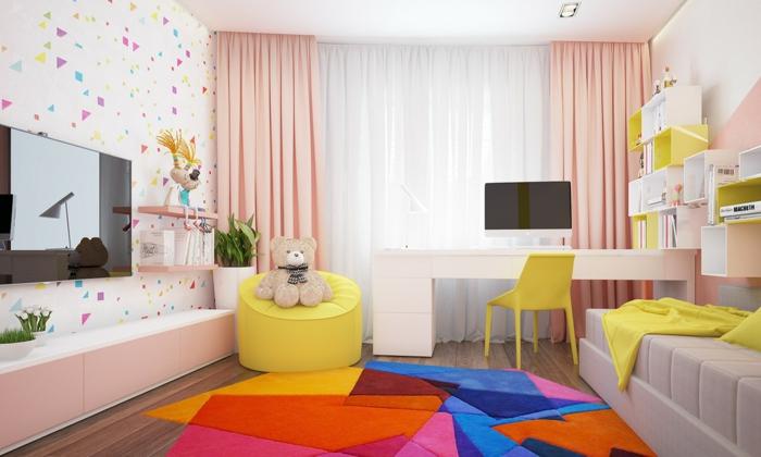wohnideen kinderzimmer farbiger teppich frische wandgestaltung gelbe akzente