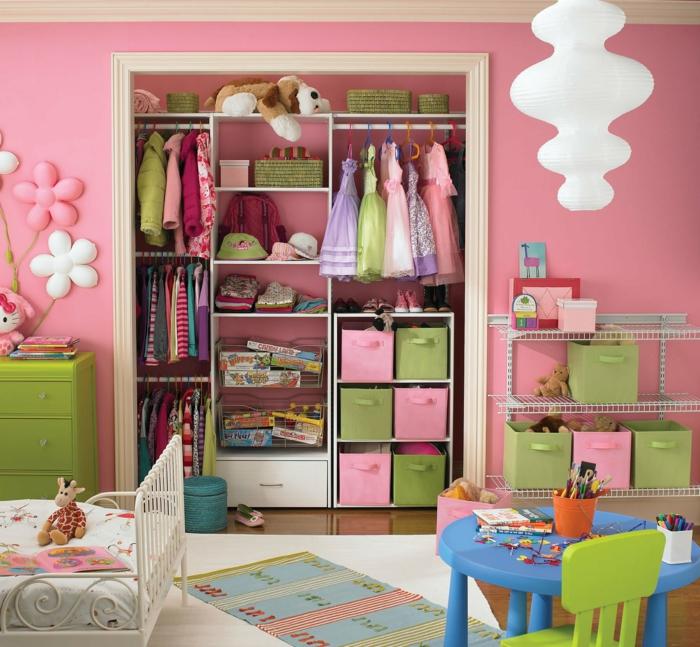 wohnideen kinderzimmer mädchen rosa wandfarbe kinderzimmermöbel