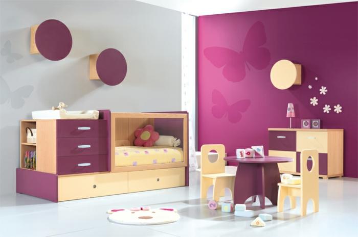 wohnideen kinderzimmer mädchenzimmer lila akzentwand funktionales bett