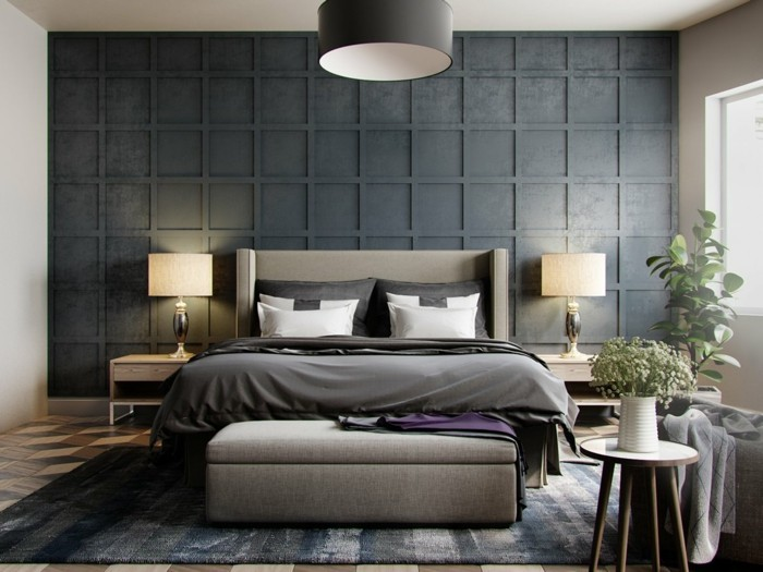 wohnideen schlafzimmer ausgefallene akzentwand und eleganter teppich