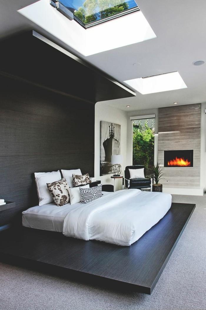 wohnideen schlafzimmer ausgefallenes bettdesign und schöne deckengestaltung