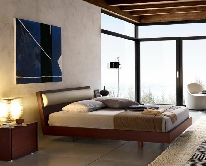 wohnideen schlafzimmer beige wand mit akzent und große bodenfliesen