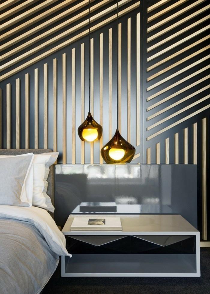 wohnideen schlafzimmer coole akzentwand und hängelampen