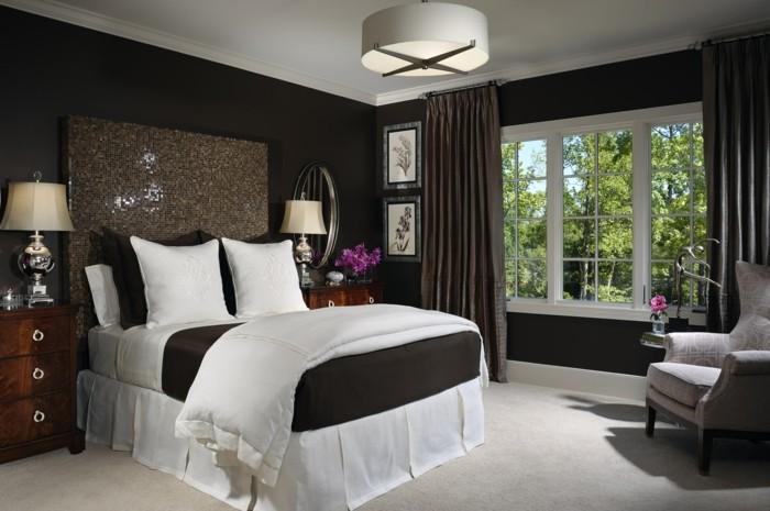 wohnideen schlafzimmer cooles bettkopfteil und heller teppichboden