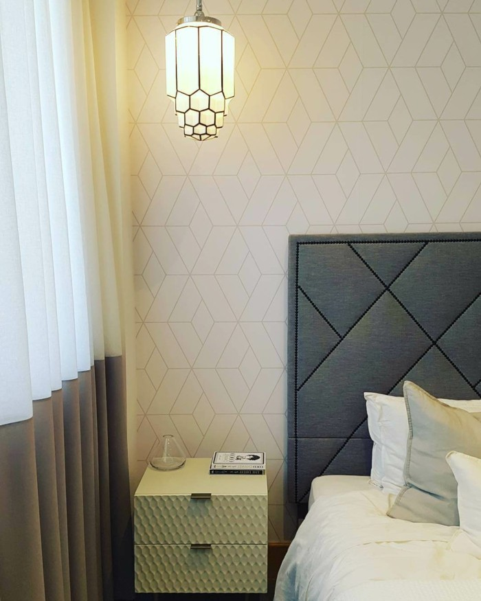 wohnideen schlafzimmer geometrische motive und schöne texturen