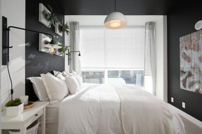 wohnideen schlafzimmer graue wandfarbe und weiße bettwäsche