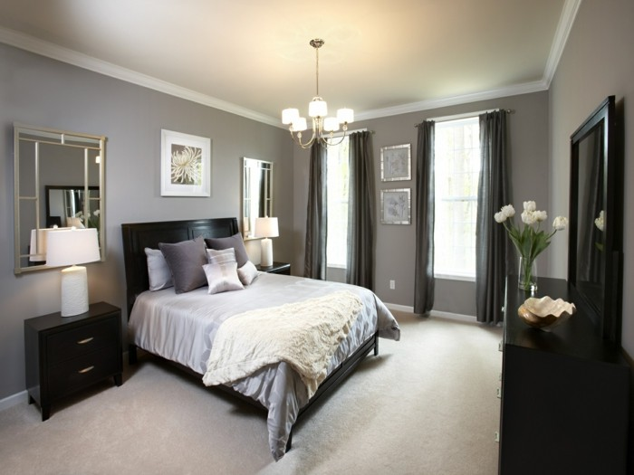 wohnideen schlafzimmer graue wandgestaltung wandbilder und wandspiegel