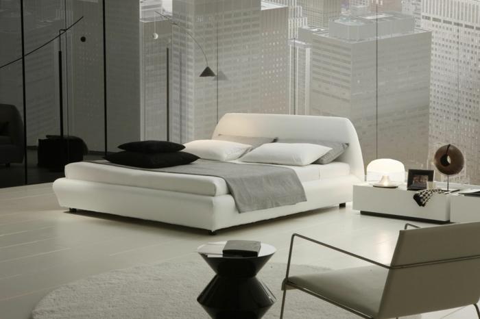 wohnideen schlafzimmer helles interieur zeitgenössisch runder teppich