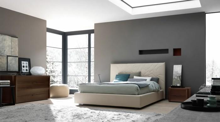 wohnideen schlafzimmer hellgraue wandgestaltung und hellgrüne akzente