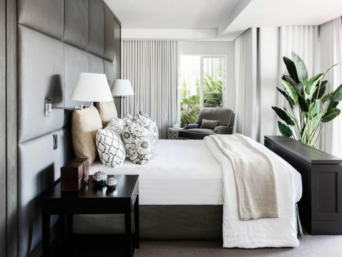 wohnideen schlafzimmer stilvolle farbkombination und pflanze