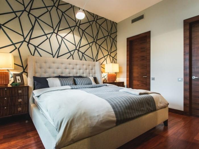 wohnideen schlafzimmer wandgestaltung mit geometrischen motiven