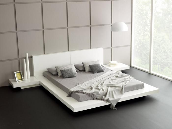 wohnideen schlafzimmer weißes bett dekovasen wandpaneele