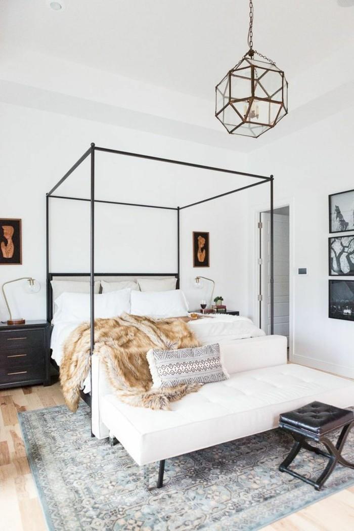 wohnideen schlafzimmer weißes schlafzimmerbank und grauer teppich