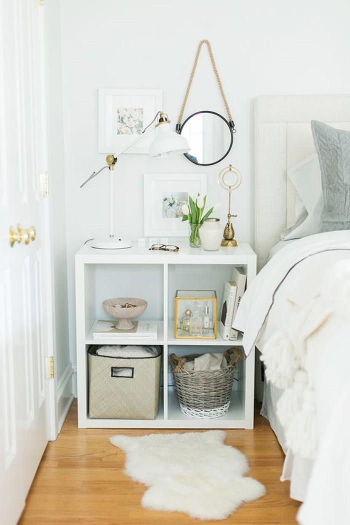 wohnideen schlafzimmer weißes schlafzimmerdesign mit bodenbelag in holzoptik